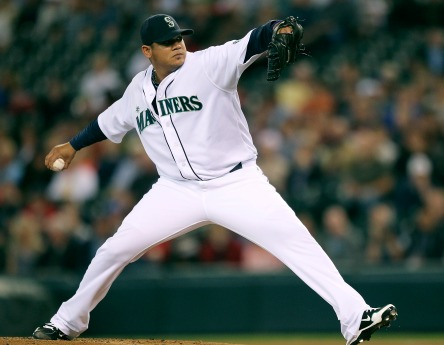 Felix Hernandez tied his career-high with 13 strikeouts in a shutout performance last night vs. Boston. (Otto Greule Jr/Getty Images)