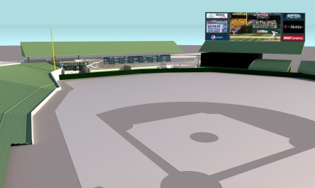 A look from homeplate at the new Cantina in left field at Safeco Field.