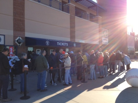 A line forms in the Arizona sunshine as spring training tickets went on sale this morning.
