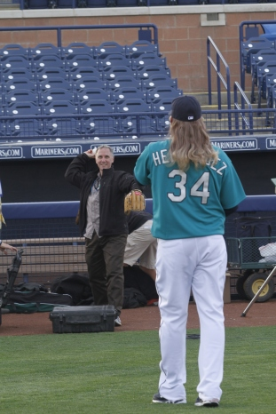 Steve playing catch Jerry (aka Felix Hernandez).