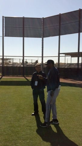Rick Rizzs talking to Mr. Mariner, Alvin Davis.
