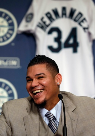 Felix was all smiles during his news conference announcing his 7-year contract extension.