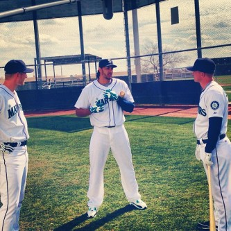 Michael Saunders, Michael Morse and Kyle Seager getting ready to star in another Mariners commercial.