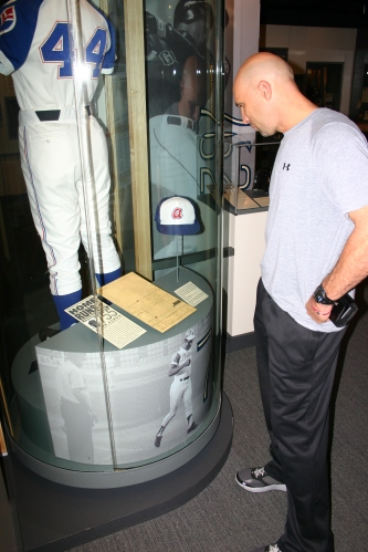 """Raul Ibañez at the """"Chasing the Dream"""" exhibit at the Hall of Fame that tells the story of Henry Aaron's career."""