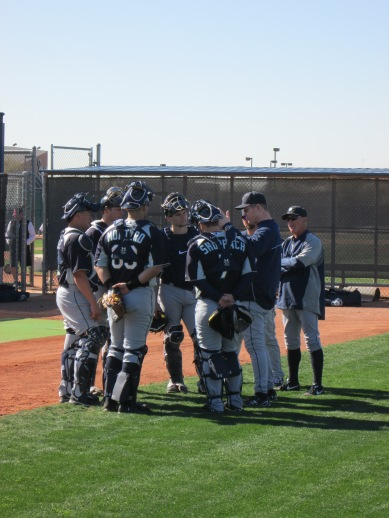Jeff Datz giving instruction to the catchers.