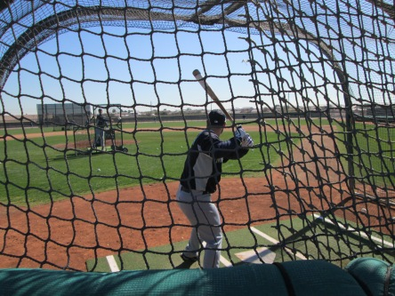 Kelly Shoppach taking batting practice.