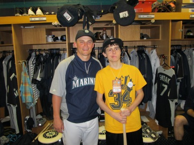 Jack Donahue and Kyle Seager enjoying a Make-a-Wish moment.