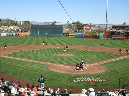 The view from the Scottsdale Stadium press box.