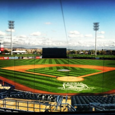 The site of tomorrow's Cactus League opener vs. the Padres. (Aaron Goldsmith)