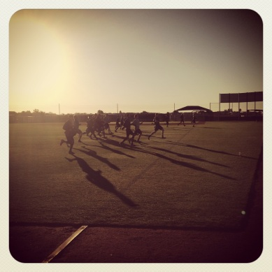 Pitchers conditioning as the sun rises in Peoria.