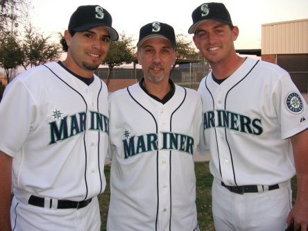 Steve with Joel Pineiro and Jeremy Reed.