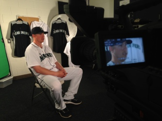 Justin Smoak sitting down with the marketing and video production crew.