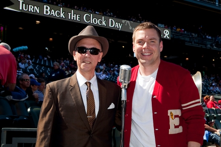 Steve and Mariners Marketing Manager Michael Ferguson on Turn Back the Clock Day.