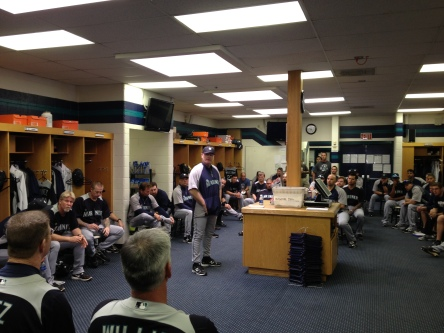 Manager Eric Wedge talking to the team before the first full-squad workout.