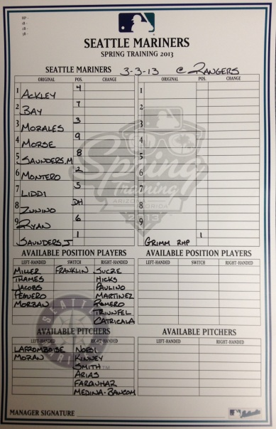 Today's Mariners lineup vs. the Rangers.