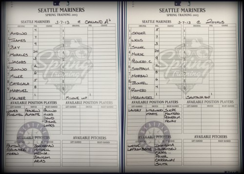 Today's starting lineups vs. the Royals and A's.