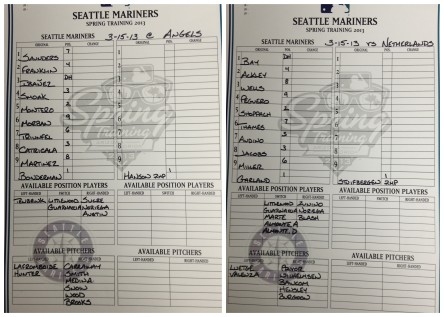 Today's Mariners starting lineups.