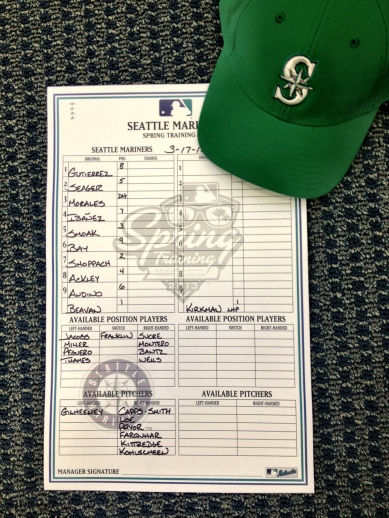 The Mariners will wear green caps in today's game vs. the Rangers.