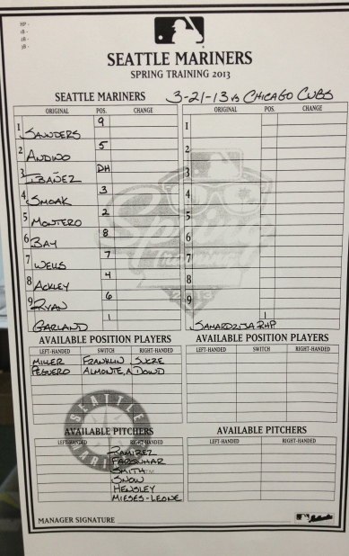 Tonight's Mariners starting lineup vs. the Chicago Cubs.