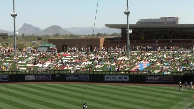The outfield berm at Salt River Fields were packed as a record crowd of 12,864 took in the Mariners vs. D-backs game.