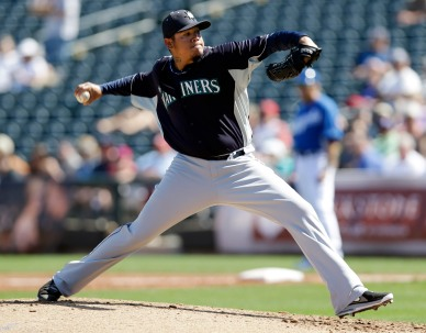 Felix Hernandez made his first spring start today vs the Royals. (AP Photo/Marcio Jose Sanchez)