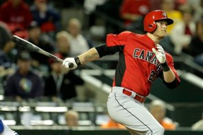Michael Saunders is 6-for-7 in two games for Canada in the WBC. (AP Photo)