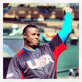 Ken Griffey Jr. threw out the ceremonial first pitch at today's USA-Canada game.
