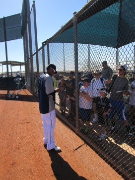 Felix signed autographs during practice.