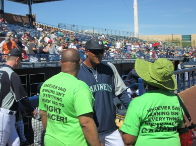 Taijuan Walker talked to Walter Weaver prior to his Home Run for Life trot around the bases.