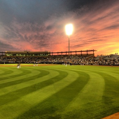 Sunset at Peoria Stadium. (photo by Jen Howson)