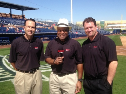 Today's broadcast crew of Jeff Huson, Dave Sims and Mike Blowers.