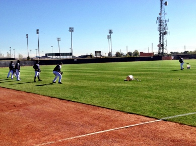 Outfield drills with Mike Brumley.