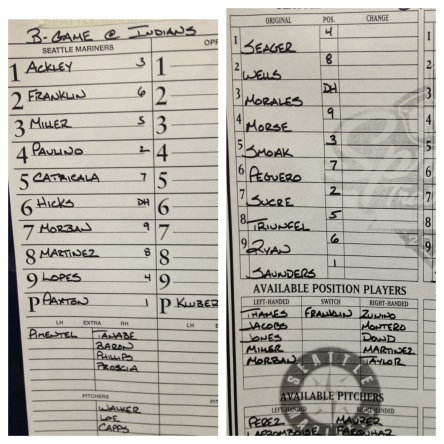 Today's starting lineups vs. the Indians (B Game) and Reds.