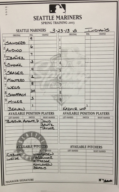 Today's lineup vs. the Cleveland Indians.