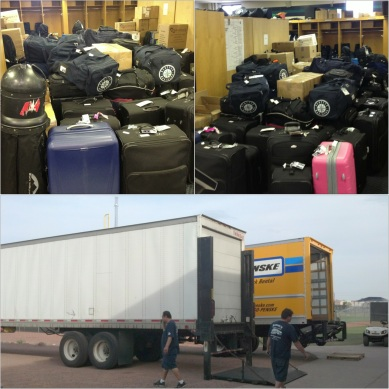 All that luggage needs to get into those trucks...