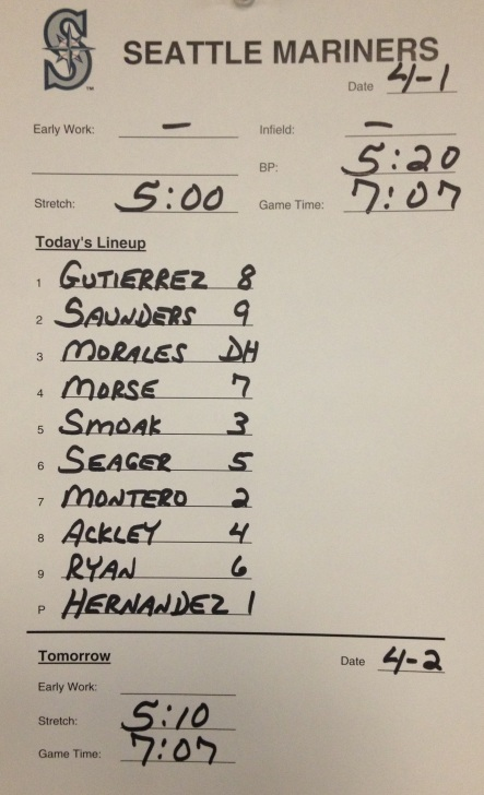 The Mariners 2013 Opening Day lineup.