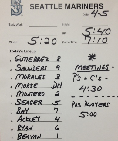 Today's starting lineup vs. the White Sox.