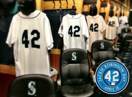 All Mariners players will wear #42 tonight to honor the legacy of Jackie Robinson.