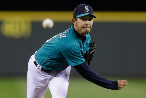 Hisashi Iwakuma improved to 2-0 on the season allowing 1 run over 6.2 innings vs. the Texas Rangers last night. (AP/Ted Warren)