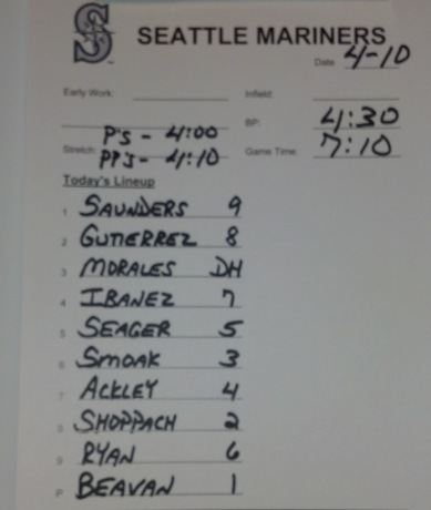 Tonight's lineup vs. the Houston Astros.