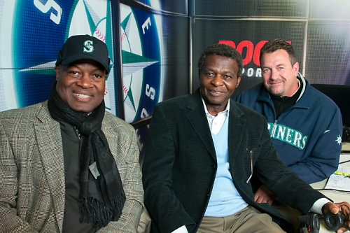 Hall of Famer Lou Brock with Mariners TV announcers Dave Sims and MIke Blowers. Brock was in Seattle to raise awareness for diabetes, and joined the telecast for an inning.