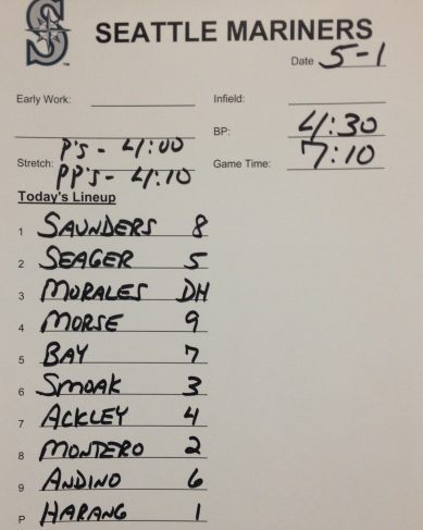 Tonight's lineup vs. the Orioles.