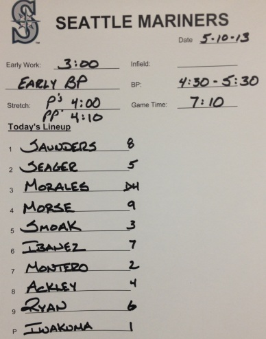Tonight's lineup vs. the A's.