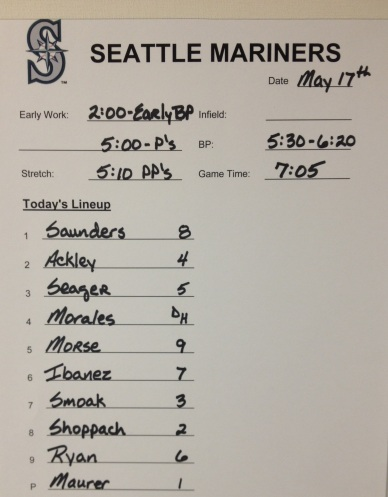 Mariners starting lineup for tonight's series opener vs. the Indians.