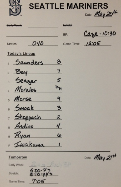 Today's starting lineup vs. the Indians.
