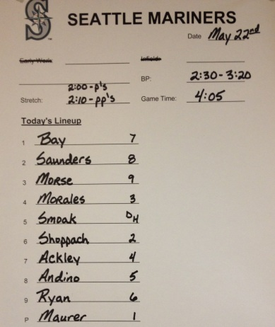 Today's lineup vs. the Angels (4:05 pm)
