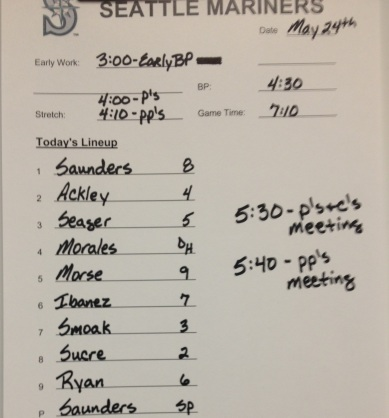 Tonight's Mariners lineup vs. the Rangers.