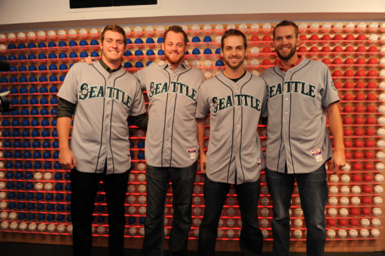 Brandon Maurer, Charlie Furbush, Lucas Luetge and Tom Wilhelmsen at the MLB Fan Cave.