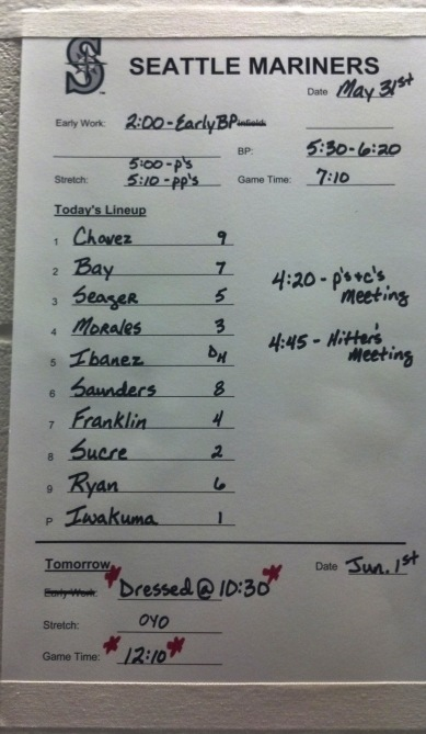 Tonight's Mariners Line-up