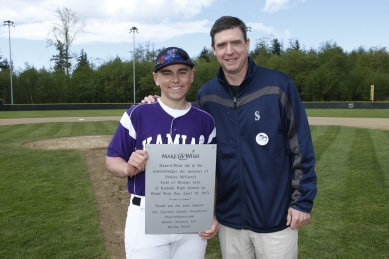 Mariners Hall of Famer Dan Wilson joined the World Wish Day celebration in Mukilteo as 16-year old cancer patient Nate McCarthy used his Wish to spruce up his high school baseball field
